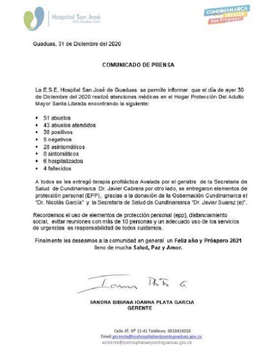 Comunicado de prensa Hospital San José de Guaduas.